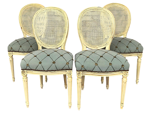 SOLD: Louis XVI Chairs Painted Frames, Cane Backs, Upholstered Seats - Set of 4