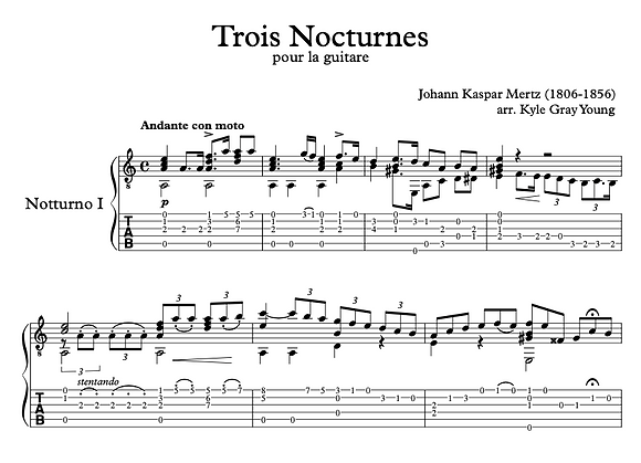 Johann Kaspar Mertz - 3 Nocturnes for Guitar (standard notation & tablature)