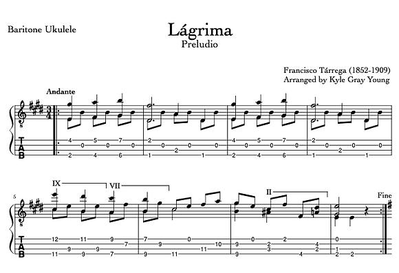 Tarrega, Francisco - Lágrima (baritone ukulele)