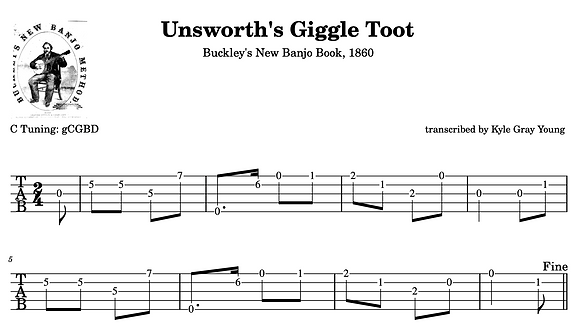Unsworth's Giggle Toot (Buckley's New Banjo Book, 1860)