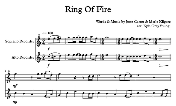 Johnny Cash - Ring Of Fire (recorder duet)