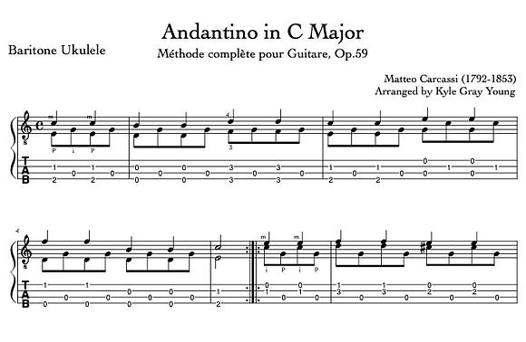Carcassi, Matteo - Andantino in C Major (baritone ukulele)