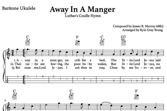 Away In A Manger (Mueller) - baritone ukulele lead sheet