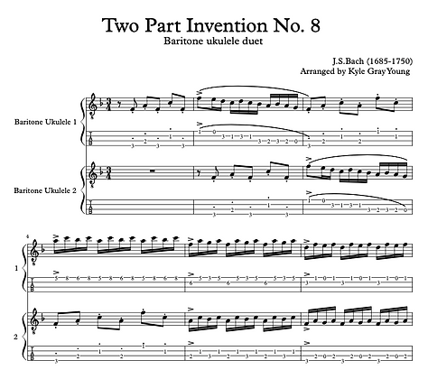 J.S. Bach - Two Part Invention No.8 in F - Baritone Ukulele duet