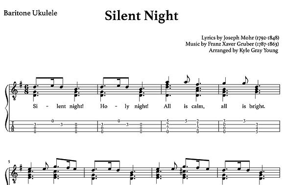 Silent Night - baritone ukulele chord melody