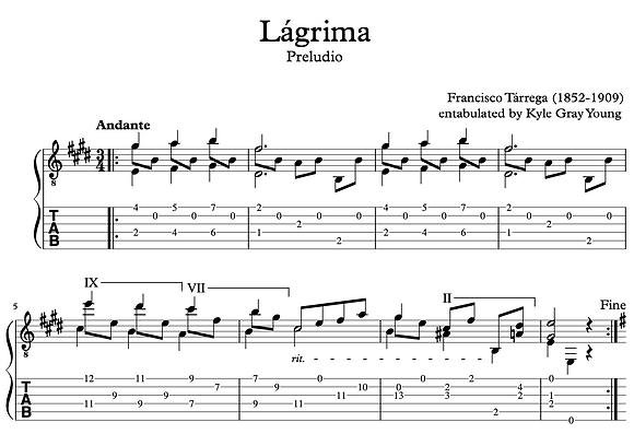 Francisco Tárrega - Lágrima (guitar tablature)
