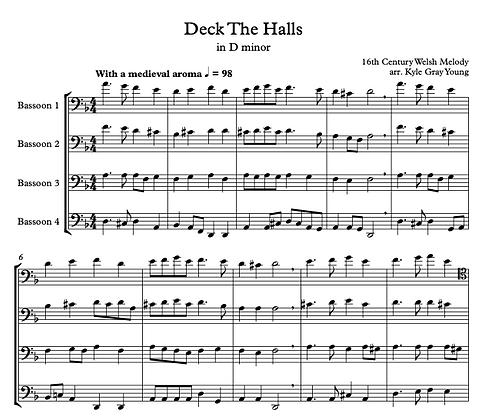 Deck The Halls (Bassoon quartet, D minor)
