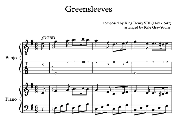 Greensleeves (Piano solo, banjo solo, or piano/banjo duet)