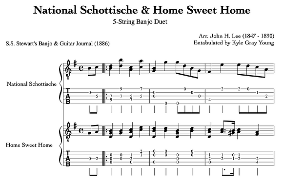 John H. Lee - National Schottische & Home Sweet Home (5-string banjo duet)