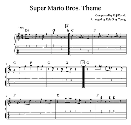 Super Mario Bros. Theme (guitar tablature)
