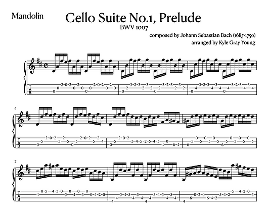 J.S. Bach - Cello Suite No.1 Prelude (arranged for mandolin)