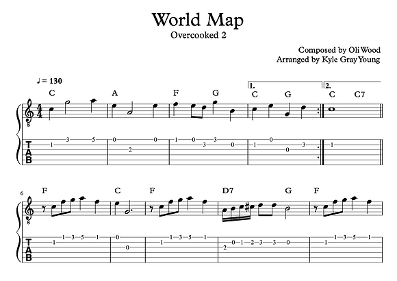 Overcooked 2 - World Map (guitar tablature)