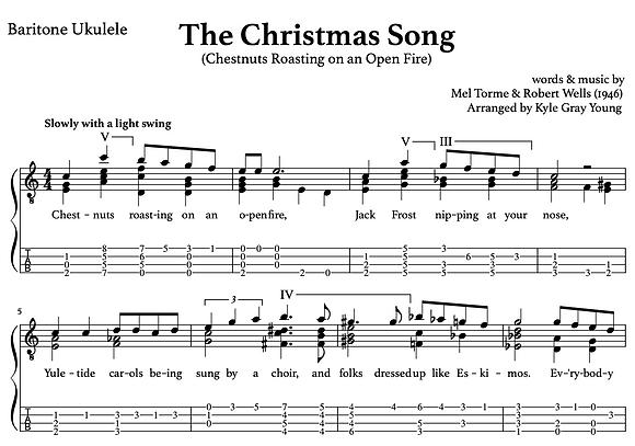 The Christmas Song (Chestnuts Roasting...) - baritone ukulele chord melody
