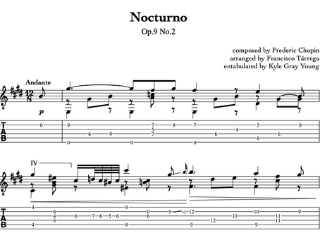 New classical guitar tablature available!