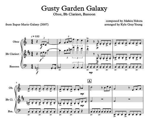 Super Mario Galaxy - Gusty Garden Galaxy (Oboe, Bb Clarinet, Bassoon)
