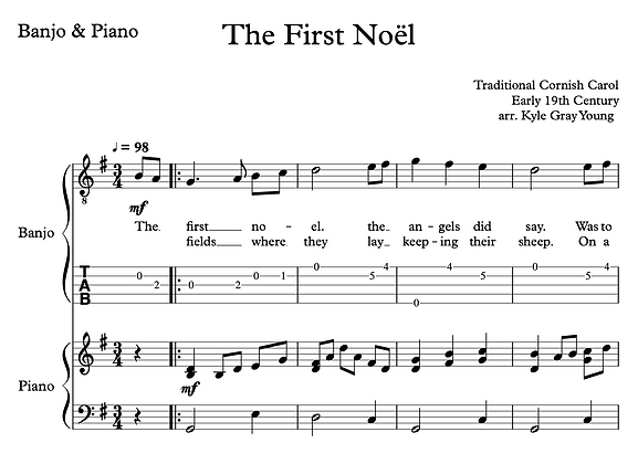 The First Noël - 5-string banjo solo (with piano accompaniment)