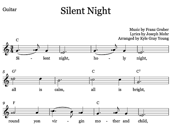 Silent Night - Beginner piano & guitar, solo or duet