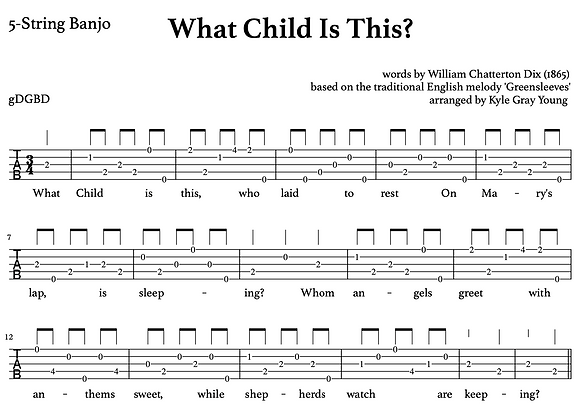 What Child Is This? - 5-string banjo, melodic style