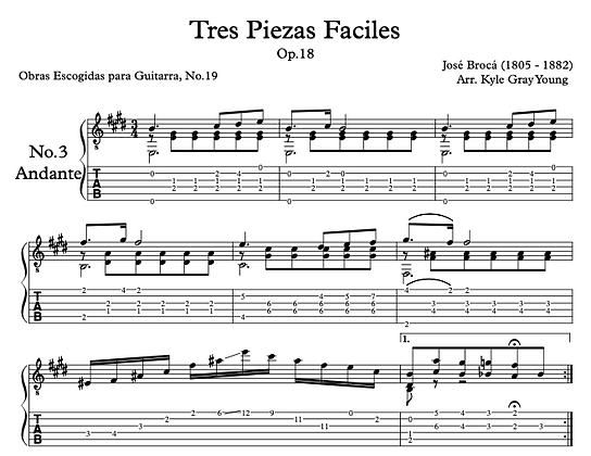 José Brocá - Op.18 Tres Piezas Facile, No.3 Andante (solo guitar)