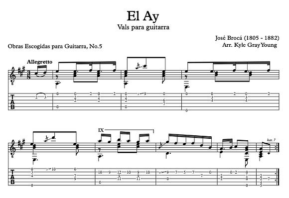 José Brocá - El Ay (guitar tablature)