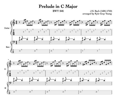 J.S. Bach - Prelude in C major, BWV 846 (guitar & bass duet)