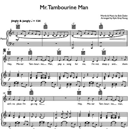 Bob Dylan - Mr. Tambourine Man (piano & vocal)