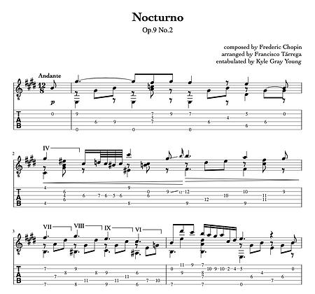 Frédéric Chopin - Nocturne Op.9, No.2 (arranged for guitar by Francisco Tárrega)