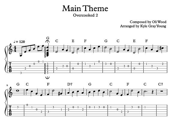 Overcooked 2 - Main Theme (guitar tablature)