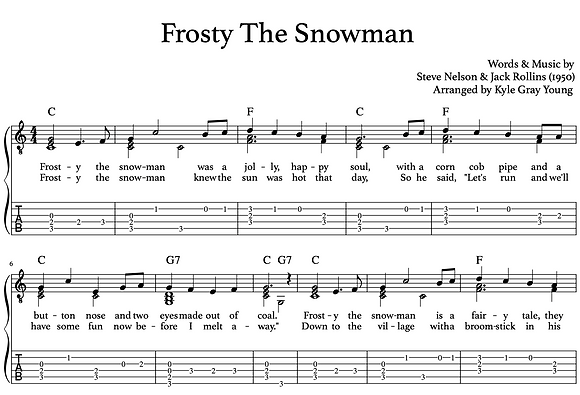 Frosty The Snowman (guitar chord melody)