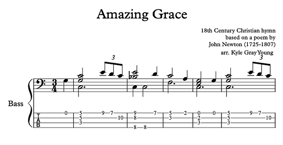 Amazing Grace (bass solo in C, advanced)