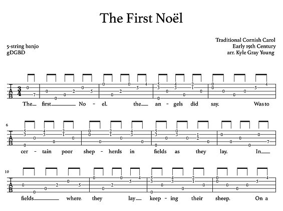 The First Noël - 5-string banjo, melodic style