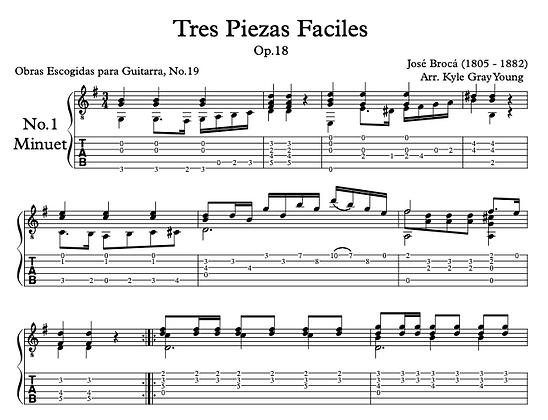 José Brocá - Op.18 Tres Piezas Facile, No.1 Minuet (solo guitar)