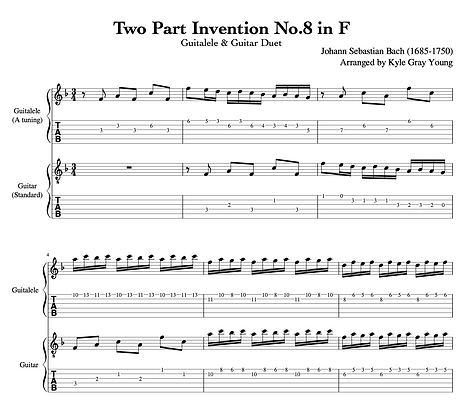 J.S. Bach - Two Part Invention No.8 in F (guitalele & guitar duet)