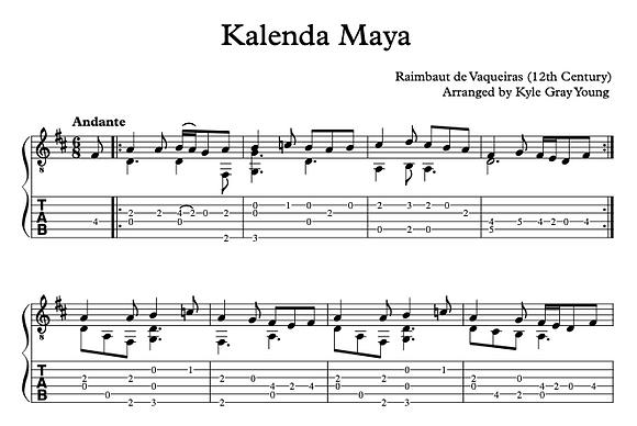 Raimbaut de Vaqueiras - Kalenda Maya (arranged for solo guitar)