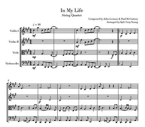 Beatles - In My Life (string quartet)