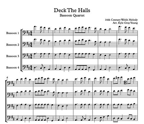 Deck The Halls (Bassoon quartet, D major)