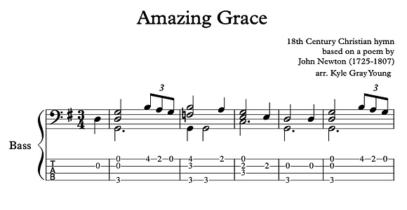 Amazing Grace (bass solo in G, intermediate)