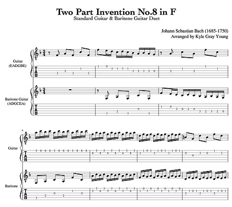 J.S. Bach - Two Part Invention No.8 in F (guitar & baritone guitar duet)