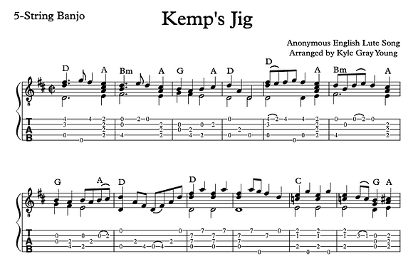 Kemp's Jig (arranged for 5-string banjo)