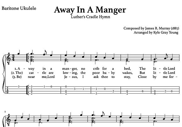 Away In A Manger (Mueller) - baritone ukulele chord melody