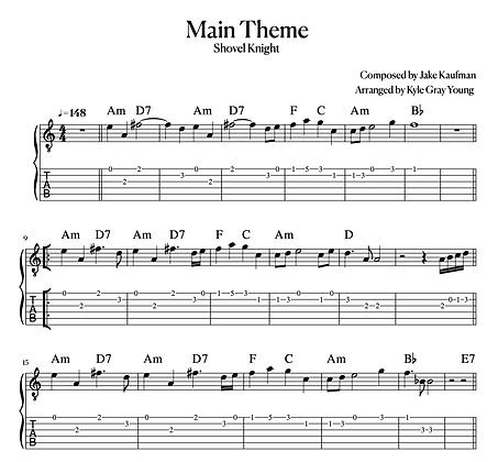 Shovel Knight - Main Theme (guitar tablature)