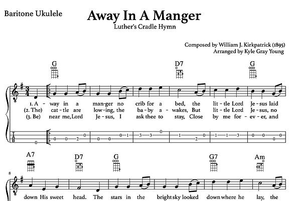 Away In A Manger (Kirkpatrick) - baritone ukulele lead sheet