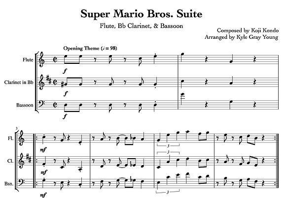 Super Mario Bros. Suite (Flute, Bb Clarinet, Bassoon)
