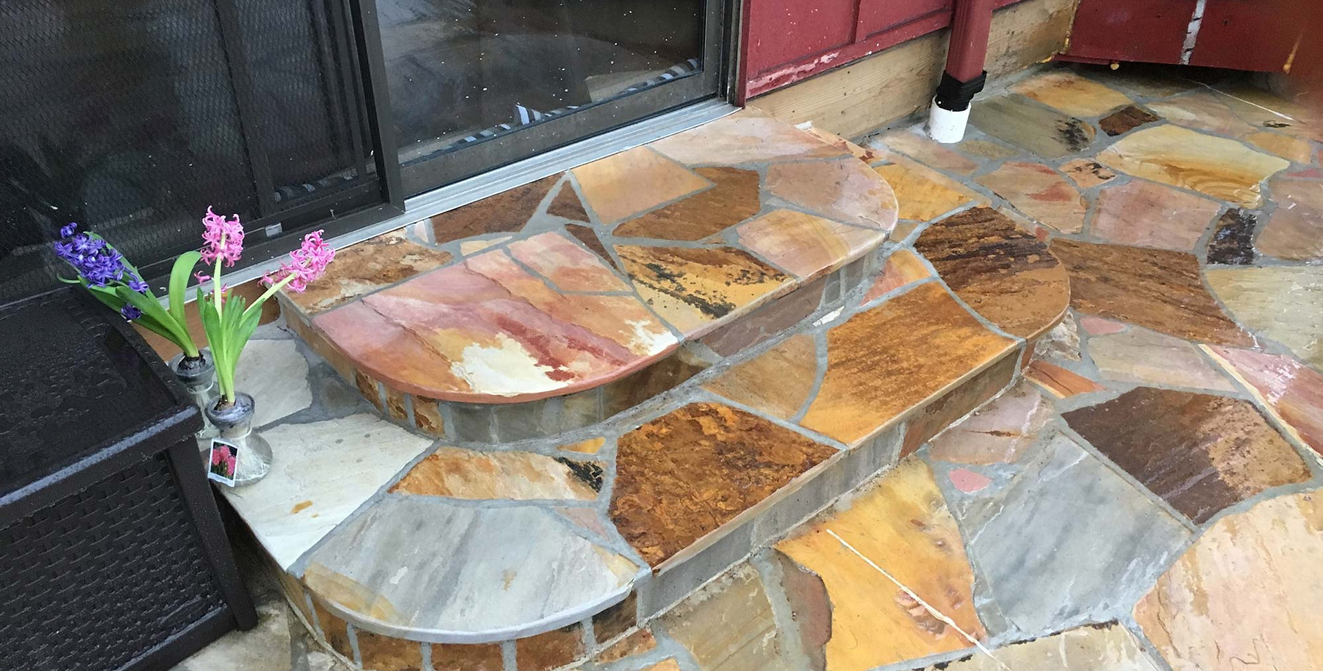 Outlook Hardscape custom designed cherry flagstone steps.