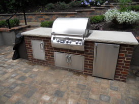 Built-in grill surrround for Fire Magic grill.