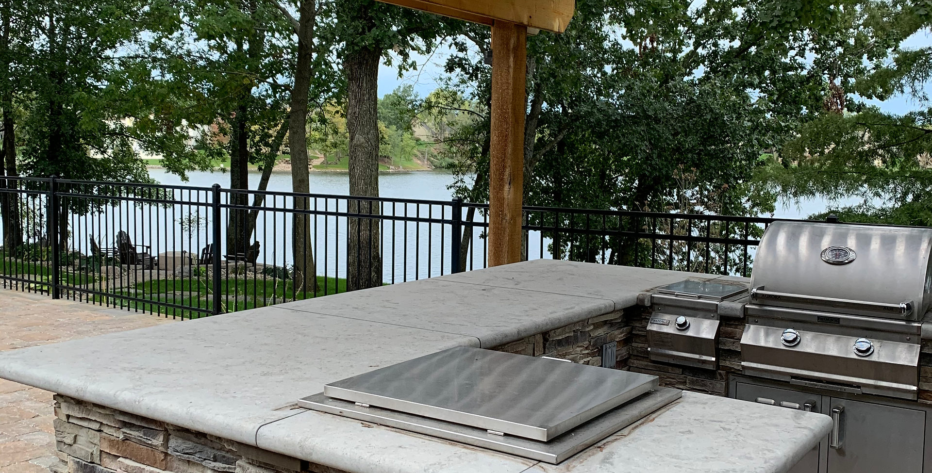 Drop-in drink cooler in outdoor kitchen.