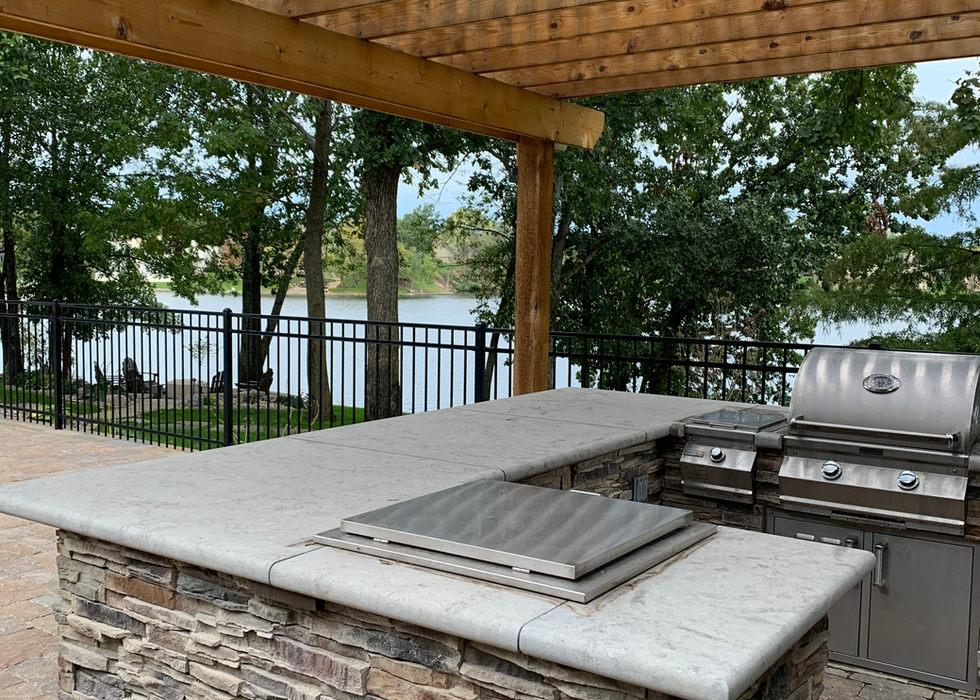 Drop-in drink cooler in outdoor kitchen.