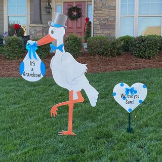 It's a Granson Stork with Blue Heart Keepsake