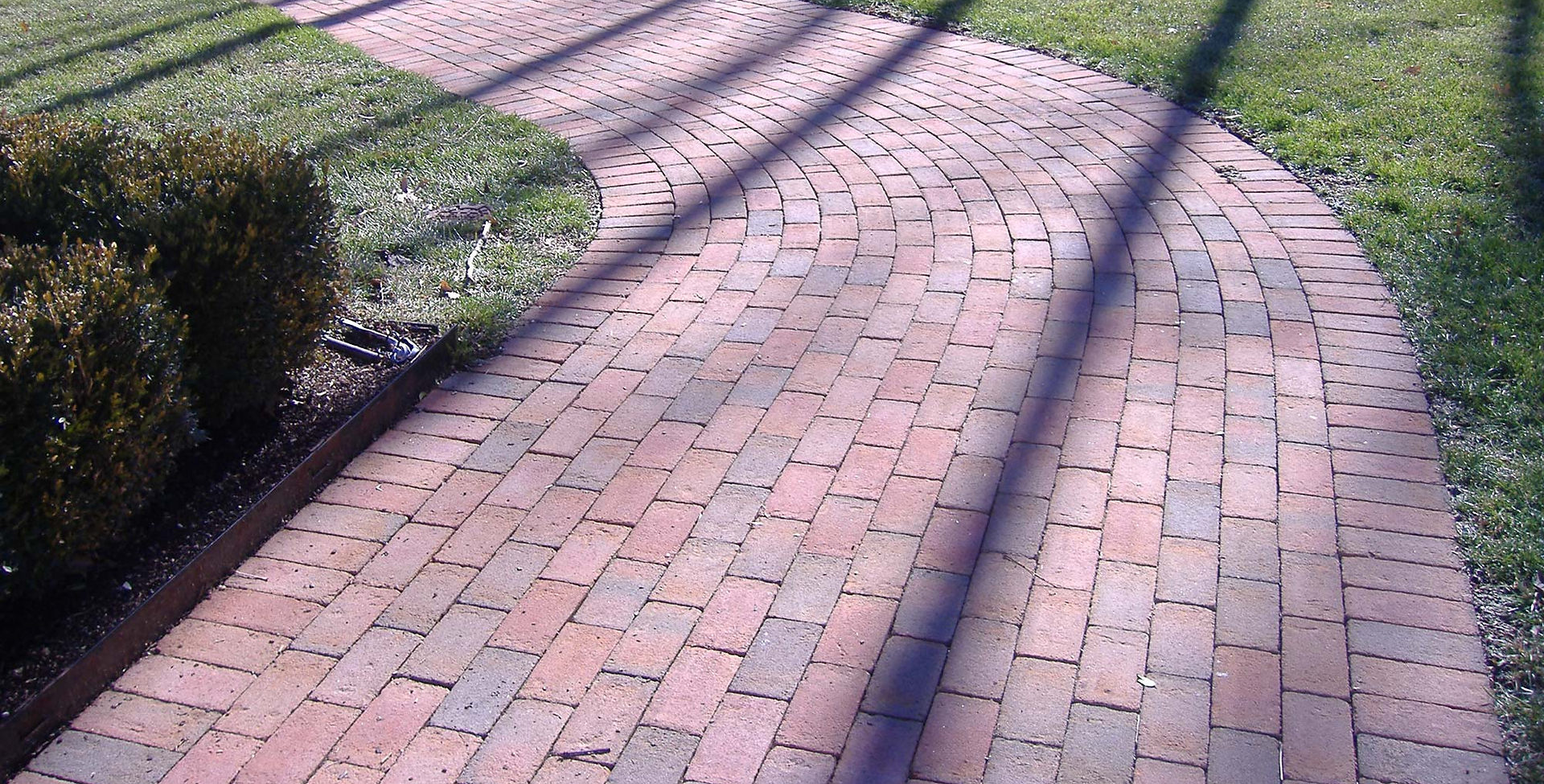Holland stone paver walkway runner bond.