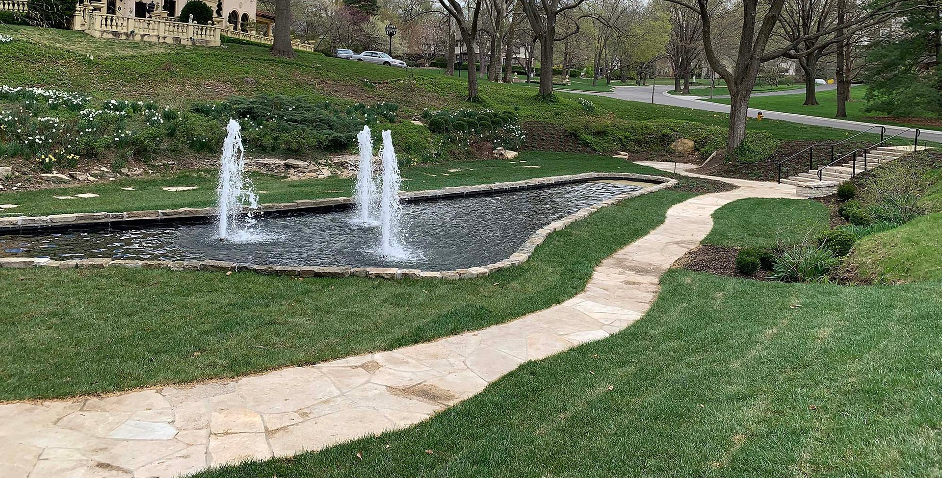 Sunken Gardens walkway in Mission Hills, KS.